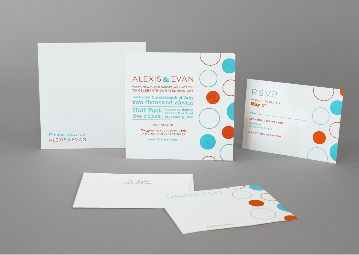 Letterpress colorful polka-dot wedding invitation design