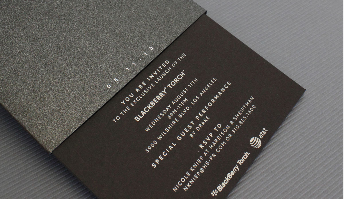 to celebrate the introduction of blackberrys first sliding phone the torch we wanted to develop a similar structure for its launch party invitation - Launch Party Invitation