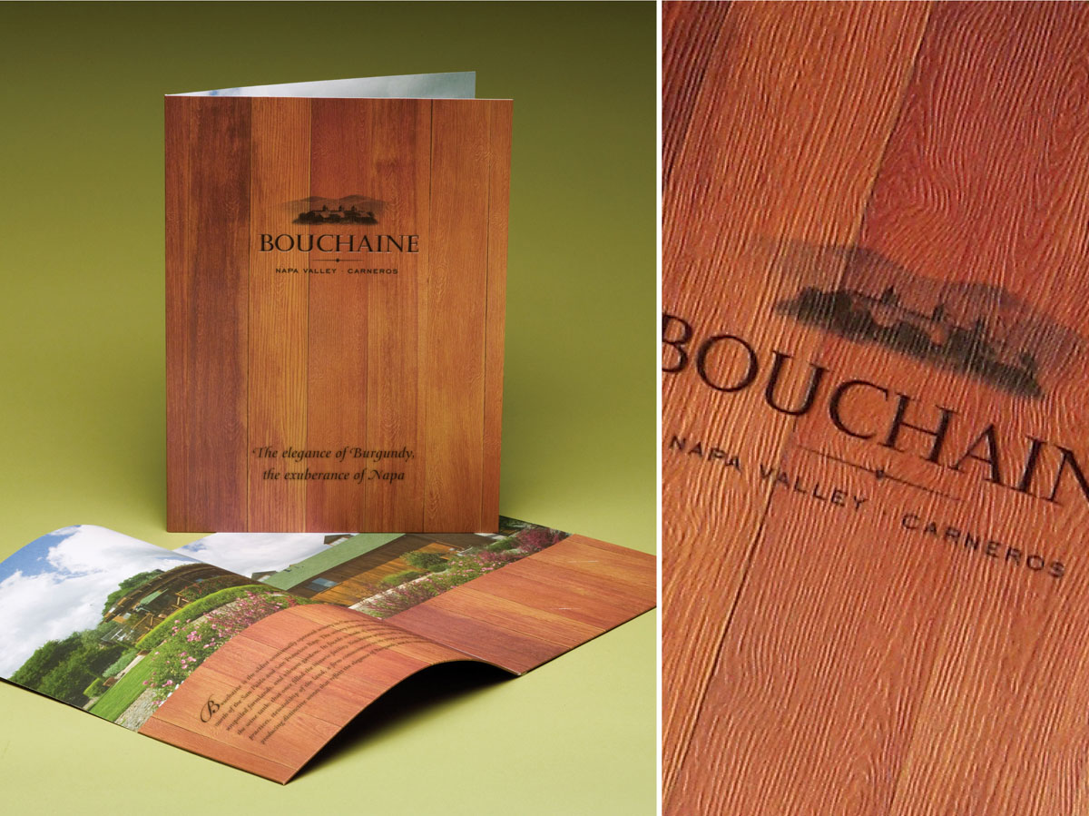 Bouchaine vineyard winery press kit folder design with wood texture