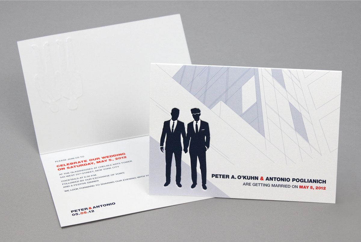 debossed gay wedding branding and invitation design