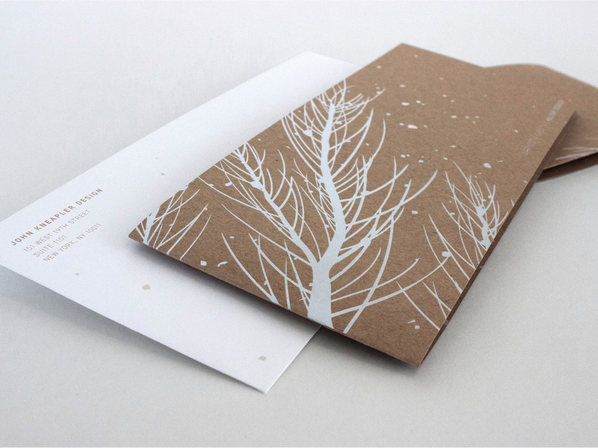 white foil stamped craft paper snow themed holiday card