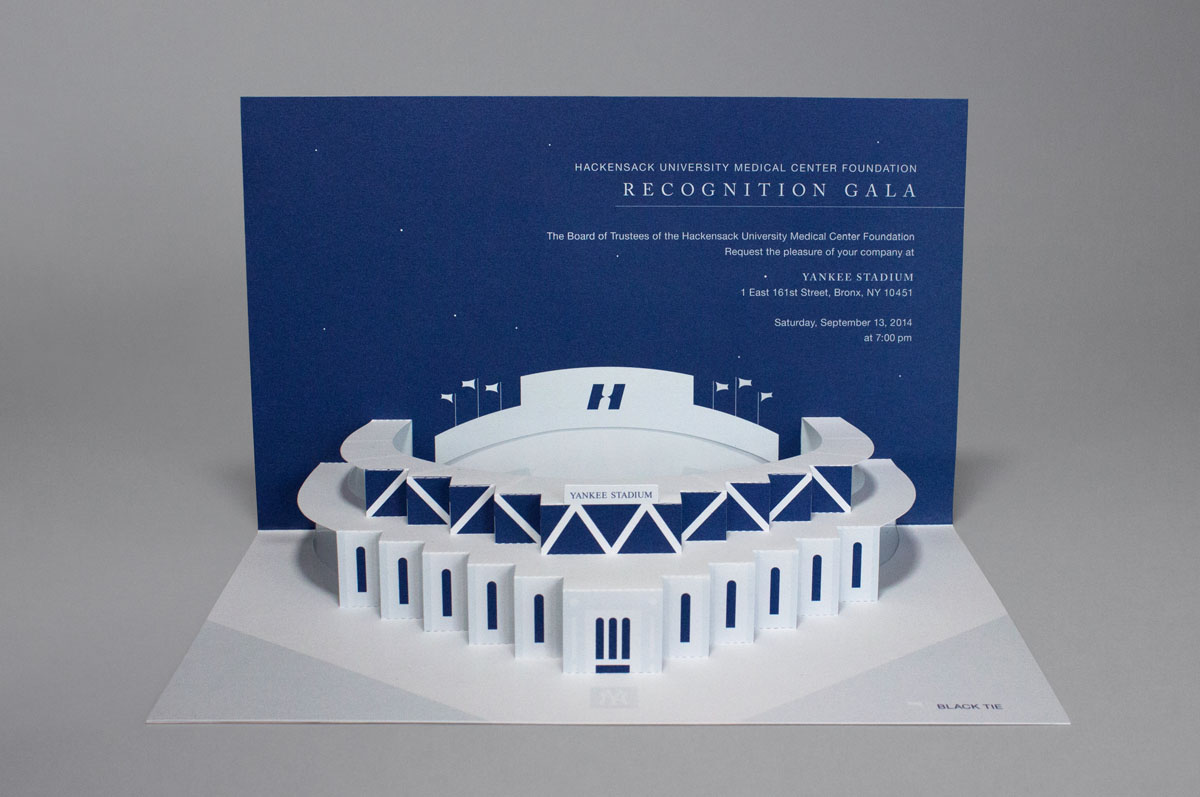 yankee stadium pop-up gala invitation design with unique structure