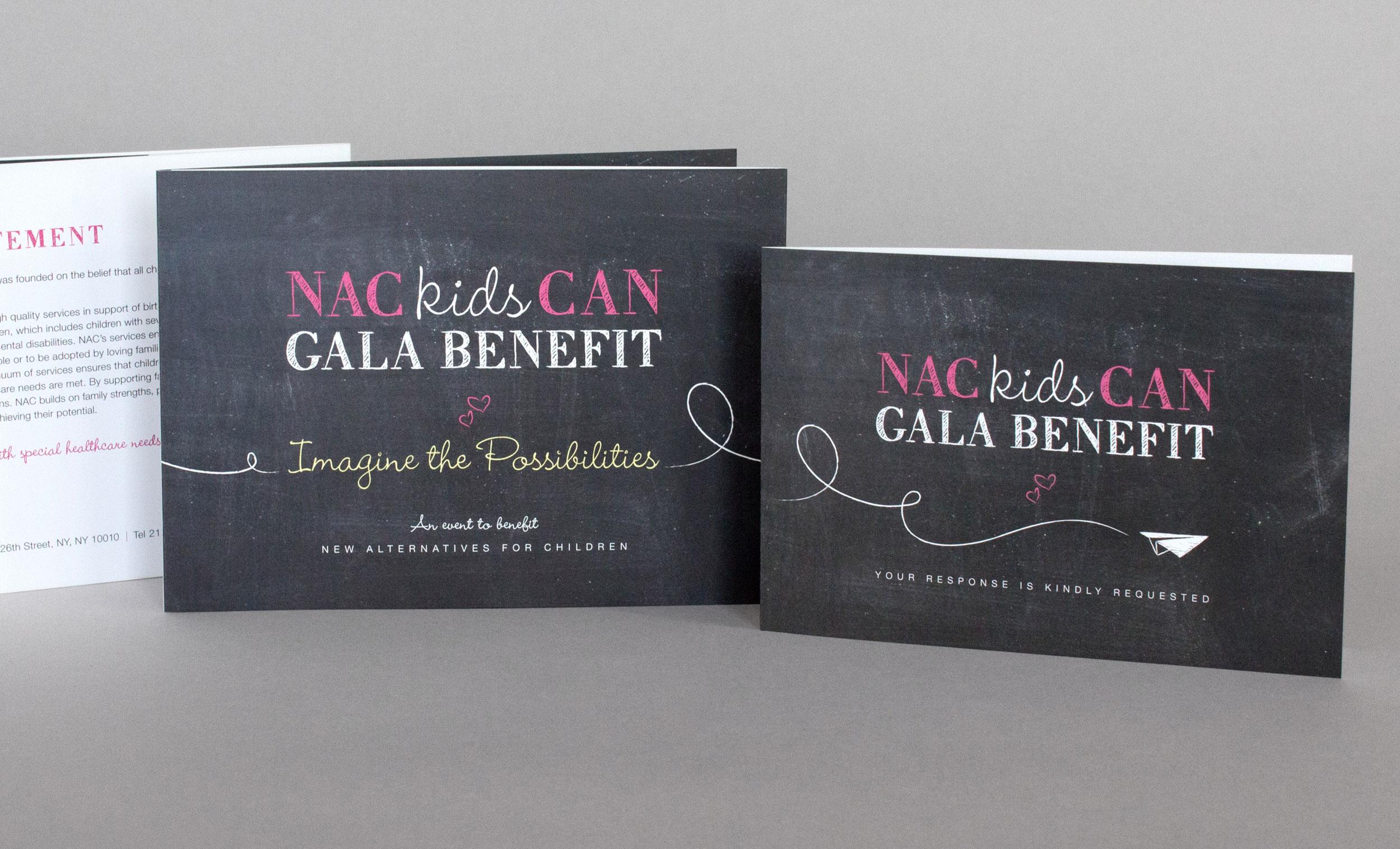 non-profit gala event invitation branding chalkboard texture