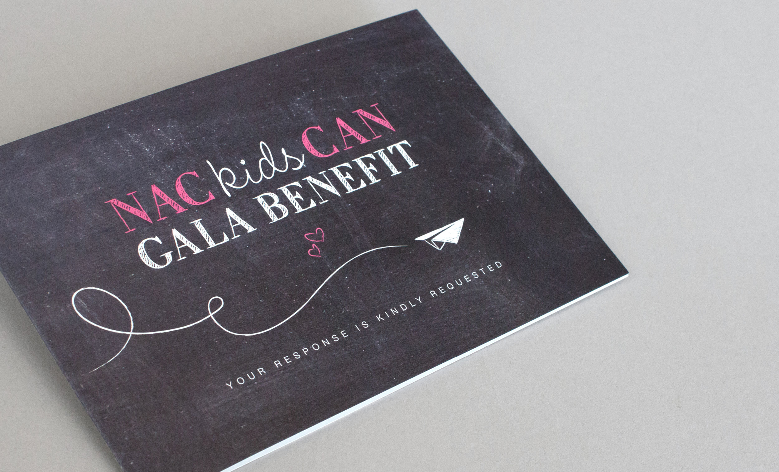 non-profit gala event branding rsvp card chalkboard texture