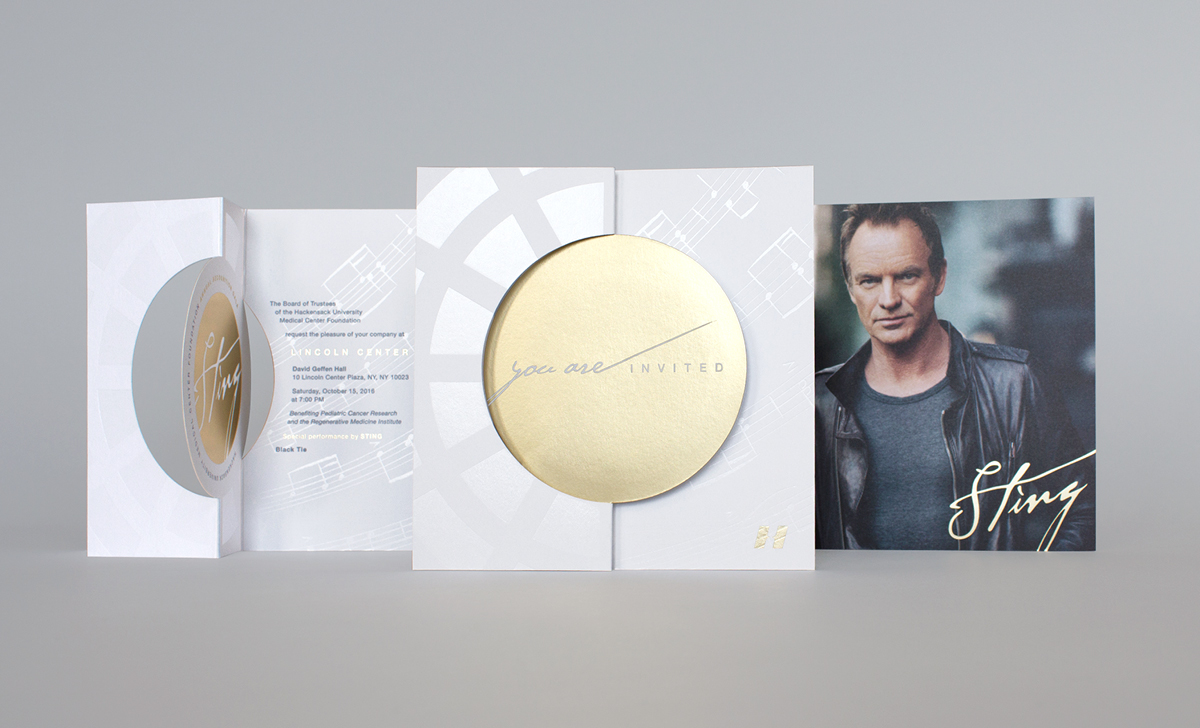 Lincoln Center Geffen Hall gala invitation Branding die-cut with gold foil and performance by Sting